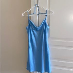 Satin Blue Mini Dress
